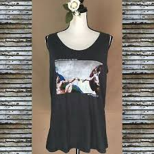 "New FIFTH SUN Top Sleeveless MichelAngelo "" The Creation Of Adam"" Racer  Back XL 