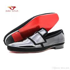 jeder schuh new black and white patent leather men handmade shoes party wedding dress plus size mens loafers