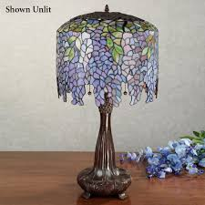 wisteria stained glass lamp with cfl bulbs each with cfl bulb