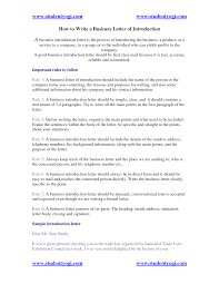 Best Ideas Of How To Write A Business Letter Of Introduction For