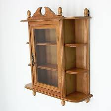 details about vtg 17 x 14 wall curio cabinet 3 shelf table top glass door wood display case