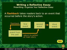 writing workshop writing a reflective essay assignment prewriting a flashback takes readers back to an event that occurred before the story s action