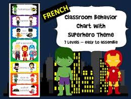 French Superhero Themed Behavior Chart