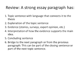 essay paragraph structure ppt video online review a strong essay paragraph has