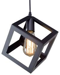 black cube retro style industrial mini ceiling pendant light shade