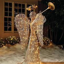 lighted rattan trumpet angel outdoor decorations lawn ornaments traditional holiday angel yard