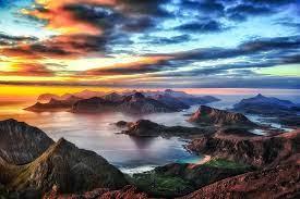 nature landscape sunset mountain sea ...