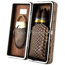 cigar travel case uk luxury gadgets lizard snake pattern embossed leather portable outdoor w sharp