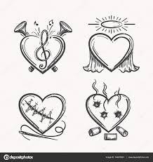 Tetování Srdce Ikony Srdce Ručně Kreslenou Vektorové Ilustrace