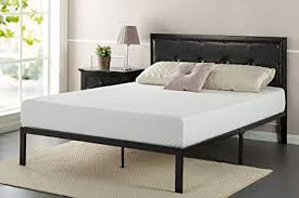 Amazon.com: Zinus Cherie Faux Leather Classic Platform Bed Frame ...