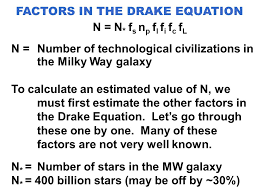 factors in the drake equation n n f s n p f l f i f c f l n number of technological civilizations