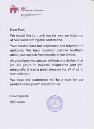 Thank You Note To Employee Thank You Letter To Speakers At Conference Sample Scrumps