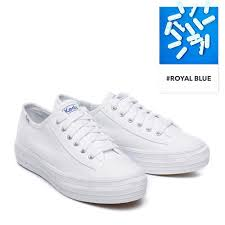 Keds Korea Women Triple Kick Canvas Shoes White Wf57306