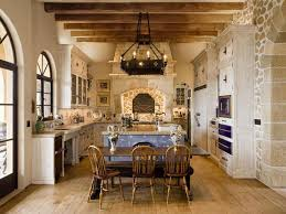 Limestone Floors In Kitchen Mediterranean Kitchen With Limestone Wrought Iron Chandelier In