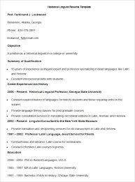 sample historical linguist resume template - Linguist Resume