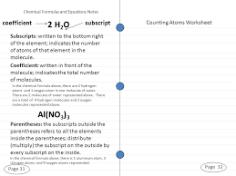 10 page 31 page 32 chemical formulas and equations notes counting atoms worksheet subscripts written to the bottom right of the element indicates the