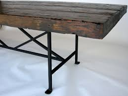 reclaimed wood dining table metal base
