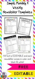 Preschool Newsletter Template Inspiration FREE Newsletter Templates Second Grade Pinterest Newsletter