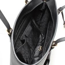 michael kors jet set travel large saffiano leather top zip pocket tote bag black roll on to zoom in