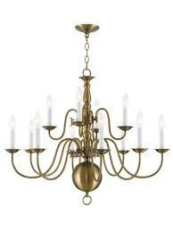 livex lighting 5014 01 williamsburg 12 light chandelier antique brass