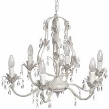 antique white diamante leaves crystal drop bulbs 6 way ceiling light chandelier
