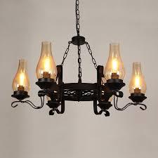 vintage black metal wagon wheel chimney glass shade 3 light 6 light chandelier