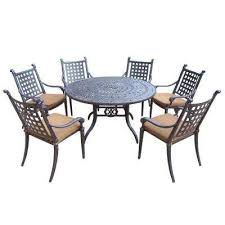 belmont 54 in 7 piece round patio dining set with sunbrella cushions