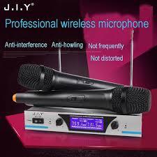 JIY Professional <b>Wireless Microphone</b> Dual Handheld Mic Cordless ...