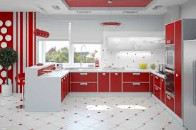 red and black kitchen accessories built in stove and oven blue and white tiles backsplash white