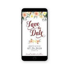 Electronic Save The Date Wedding Invitation Digital Smartphone Invite Floral Invite Watercolor Invite Sms Invite Begonia