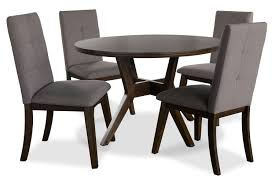 dining room furniture chelsea 5 piece round dining table package with brown chairs