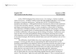 Thesis For Catcher In The Rye Essays