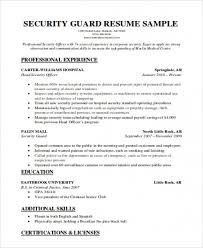 Security Guard Resume Sample Stunning Free Download Sample Security Guard Resume Format Pdf Wwwmhwaves