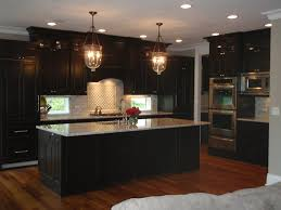 dark wood kitchen cabinets. Black Kitchen Cabinets - This Is A Little Dark But My Don\u0027t Go To The Top Of Vaulted Ceilings. White Counter And Wood Floor With