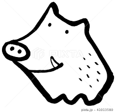 猪 動物 かわいい モノクロのイラスト素材 Pixta