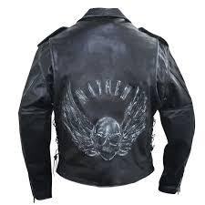 xelement b96150 men s black embossed flying skull premium leather jacket leatherup com