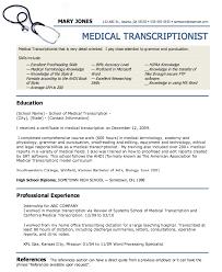 Medical Transcriptionist Resume Sample Professional Resume Templates