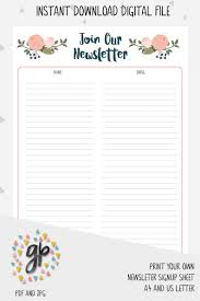Free Sign Up Sheet Template Printable Newsletter Sign Up Sheet Template Email Pin By Constant