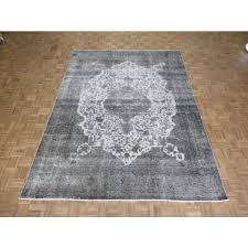 8 x 11 hand knotted overdyed silver gray persian tabriz oriental rug g3346