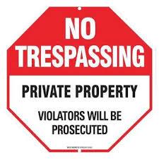 12 in x 12 in aluminum no trespassing sign