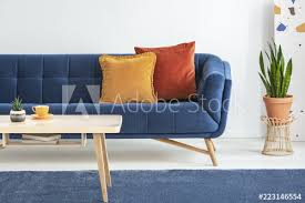 orange and red cushions on a fancy navy blue sofa and a basic wooden coffee table on a blue rug in a white living room interior real photo