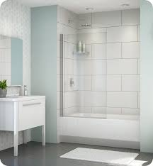 fleurco esb34 11 40 banyo siena solo semi frameless in line tub shield with hardware finish bright chrome and glass type clear glass