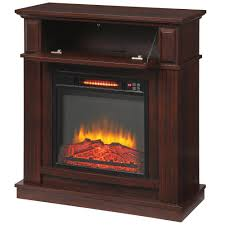 hampton bay parksley 31 in freestanding compact infrared electric fireplace in cherry
