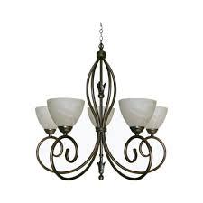 oval rose 5 light chandelier