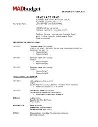 Spanish Resume Templates Spanish Resume Template How To Create A Resume For  Jobs In Spain Templates