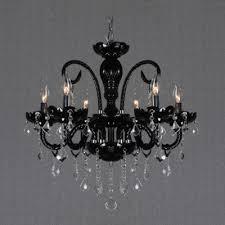 glistening clear crystal droplets and jet black frame splendid chandeliers
