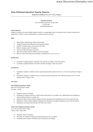 Early Childhood Education Resume Sample Professional Early
