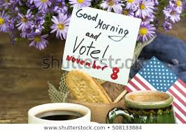 patriotic breakfast concept good morning and vote november 8 usa presidential elections 2016 sunlight