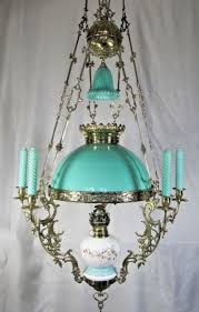 antique french chandelier brass porcelain kerosine candelabra hanging oil lamp