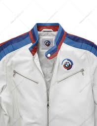 premium soft motorsport jacket made of lambskin leather sporty design and meticulous workmanship stand up collar and side pockets with silver zips bmw